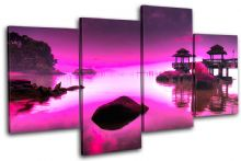 Japan PURPLE PINK Sunset Seascape - 13-0758(01C)-MP04-LO